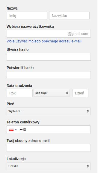 Formularz rejestracji Google Search Console
