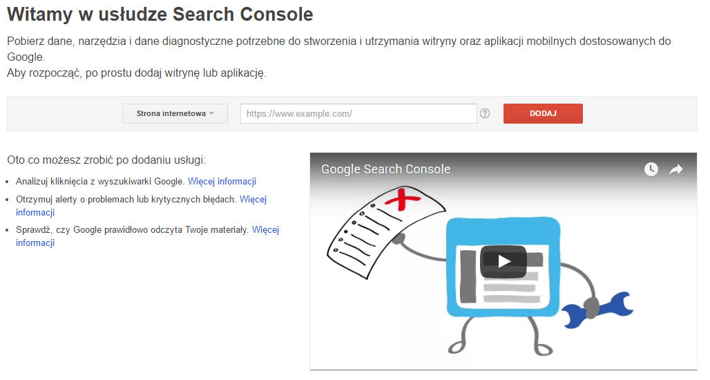 Ekran startowy Google Search Console