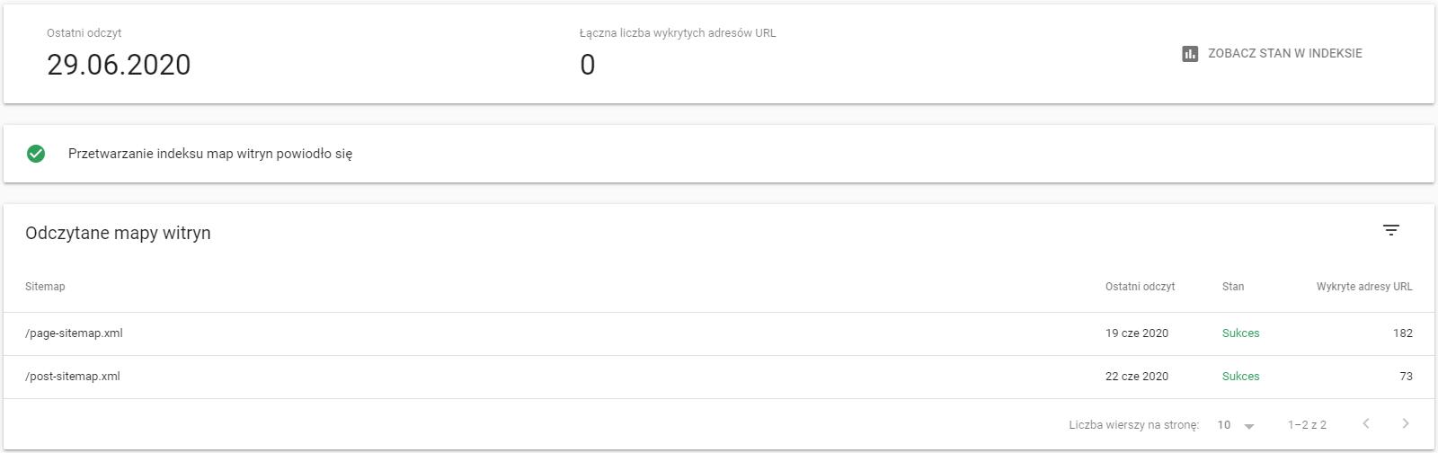 Odczytywanie sitemapy w Google Search Console