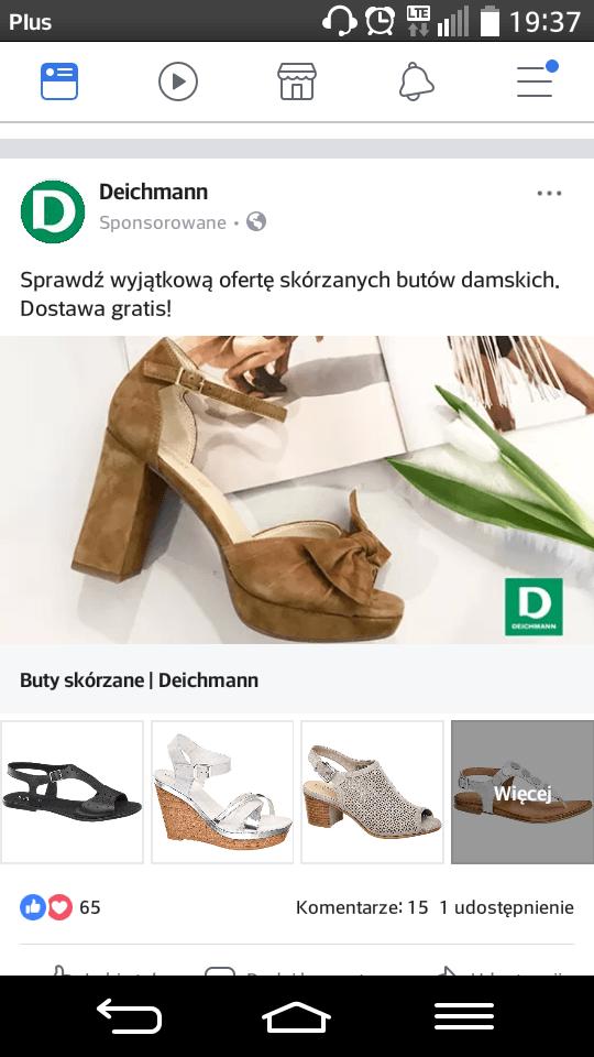 kolekcja facebook - przykład - deichmann