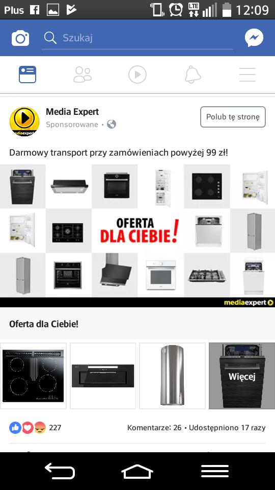 kolekcja Facebook - przykład Media Expert