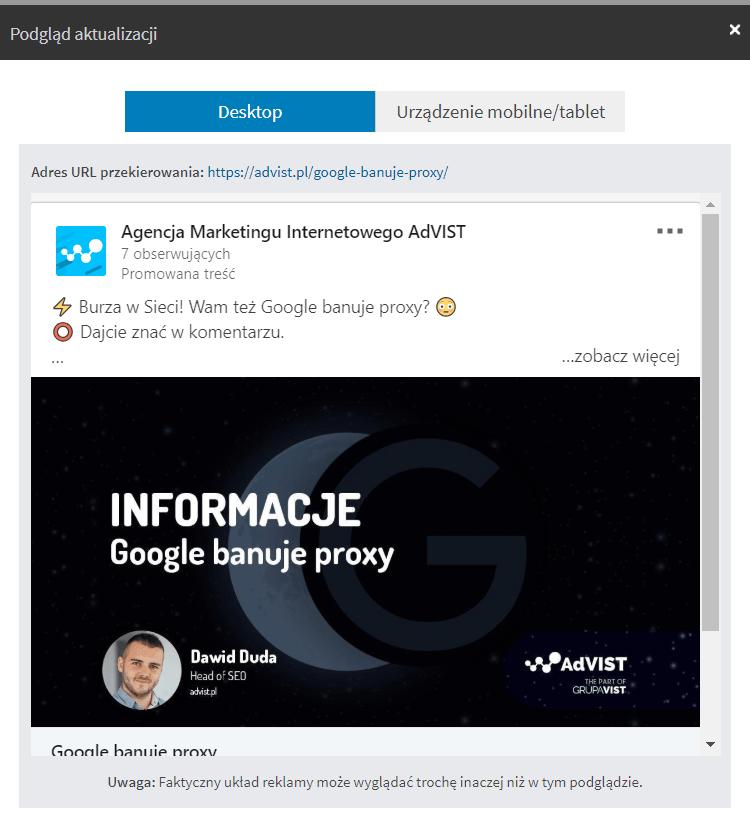 treść sponsorowana LinkedIn edycja