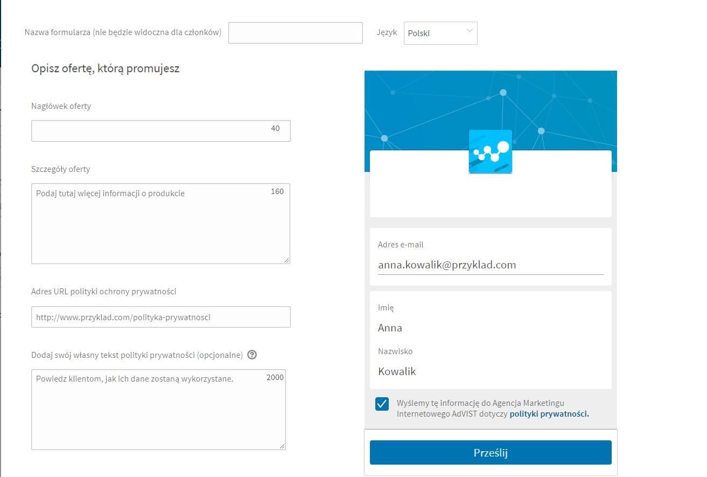 formularz LinkedIn Ads