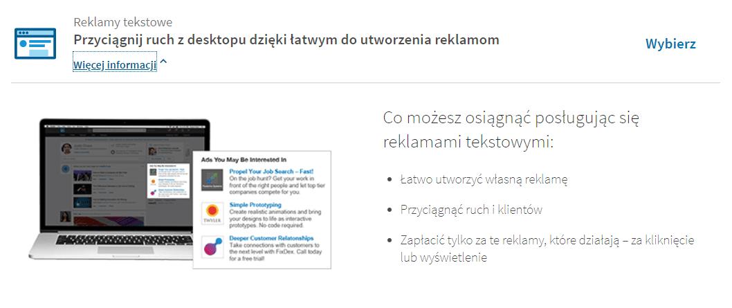 reklama tekstowa LinkedIn - opis