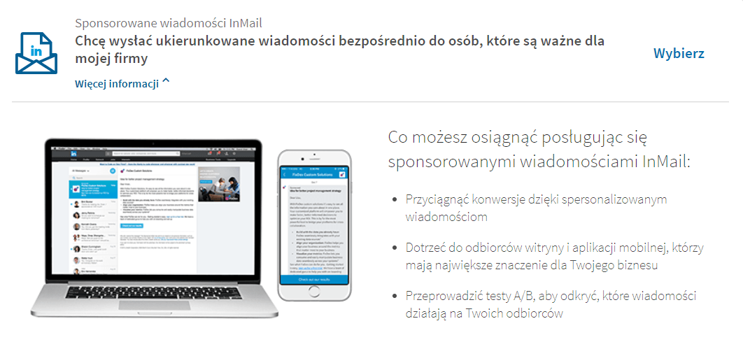 wiadomości sponsorowane LinkedIn - opis