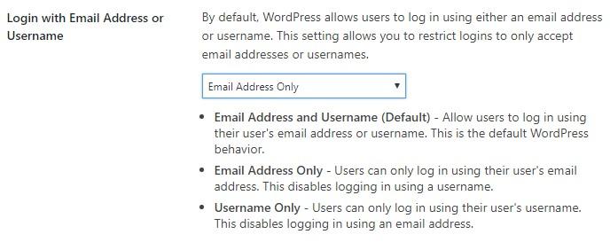 email login wordpress