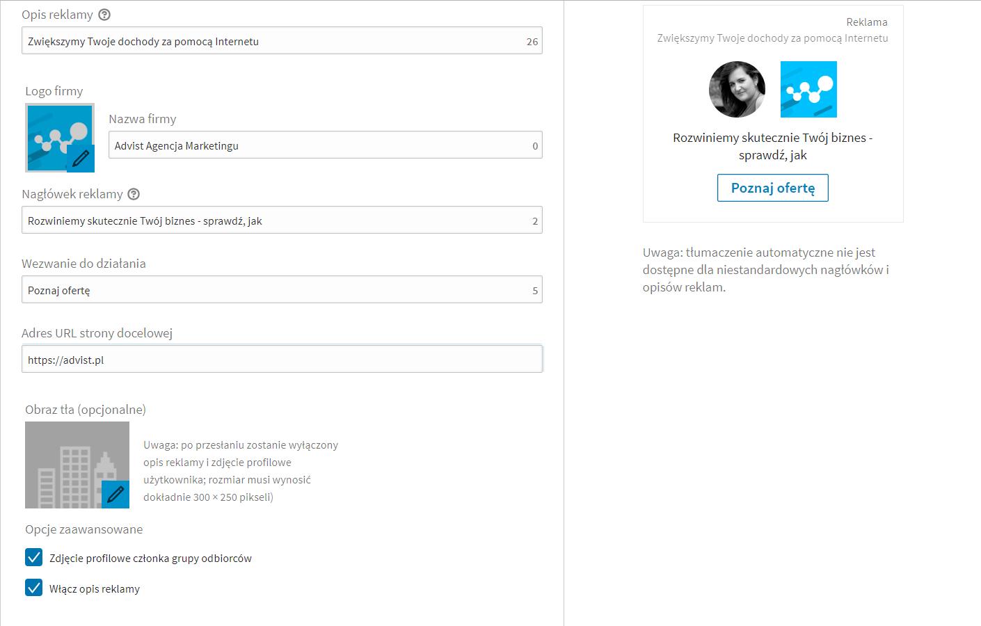 reklama dynamiczna LinkedIn