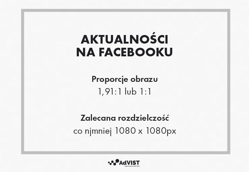 aktualności na facebooku wymiary
