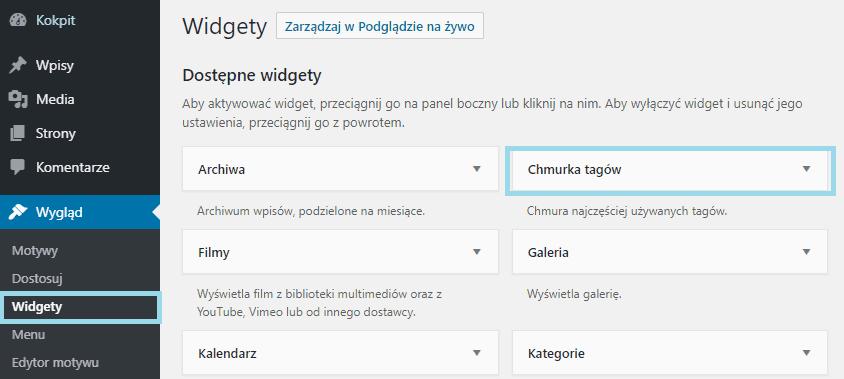 tagi widgety