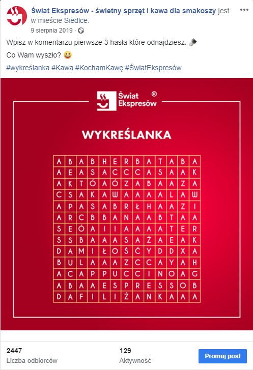 Wykreślanka - post na Facebooku