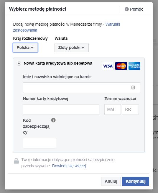 Wybór płatności na Facebooku