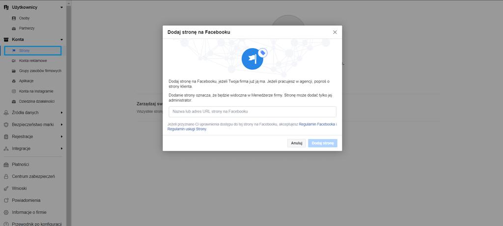 Dodanie strony do Menedżera firmy na Facebooku
