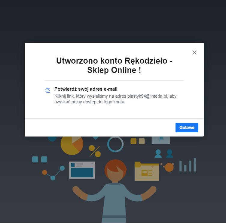 Komunikat o utworzeniu konta w Menedżerze firmy na Facebooku