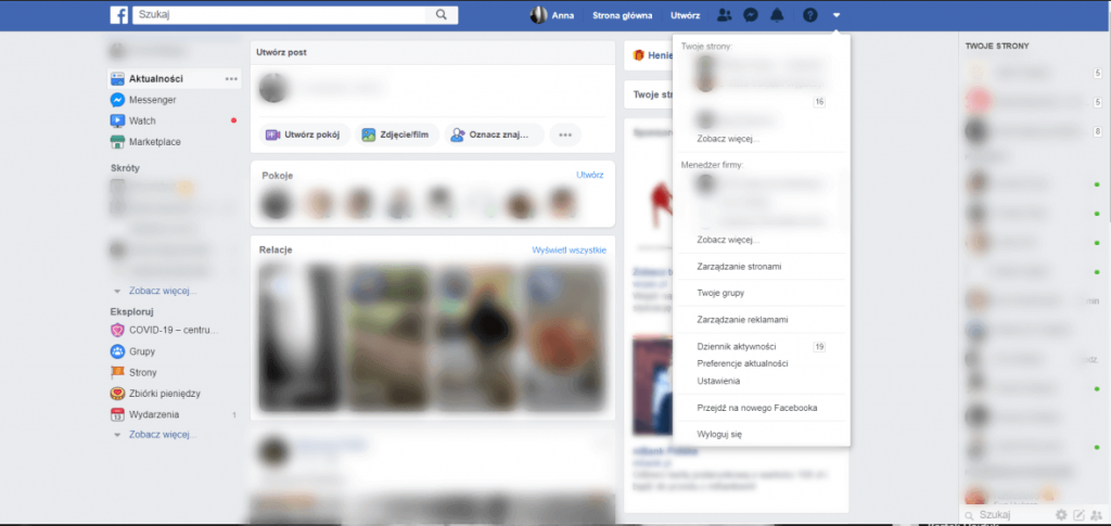 Screen Facebook