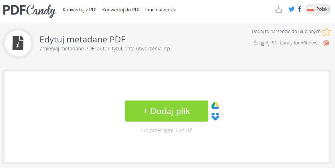 Edycja metadanych w PDF Candy