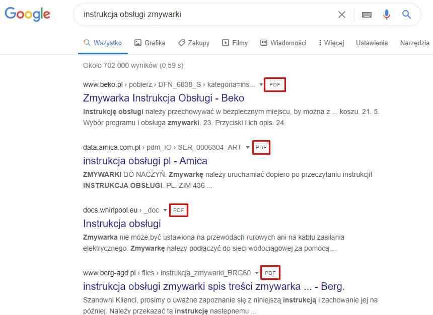 Znacznik PDF w wynikach wyszukiwania