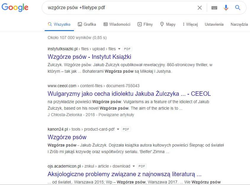Wyszukiwanie w Google wyłącznie plików PDF