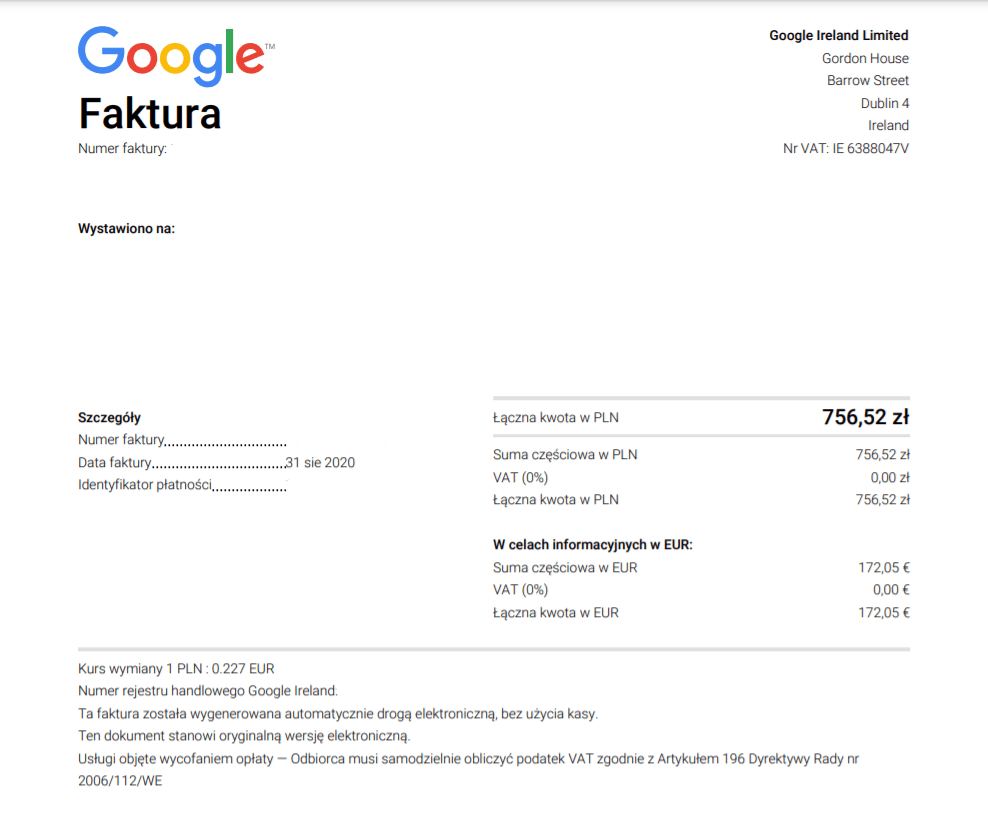 Faktura Google