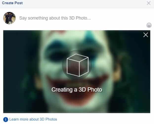 Post 3D na Facebooku