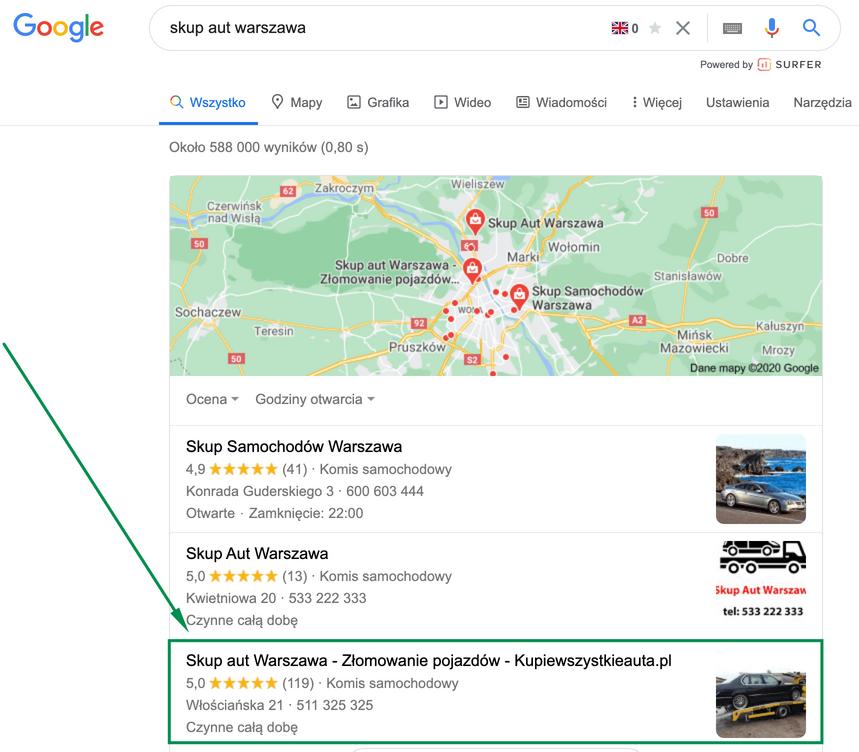 Skup aut Warszawa - wyniki w mapach Google