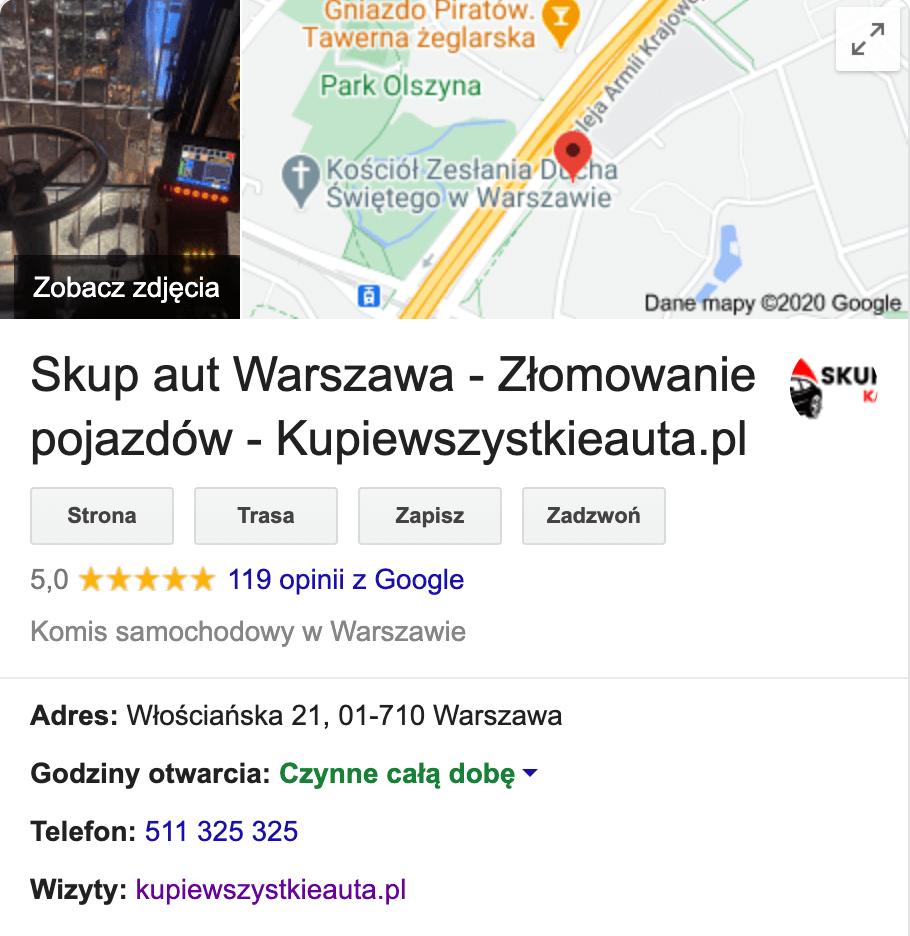 Wizytówka Google Moja Firma - Kupiewszystkieauta.pl