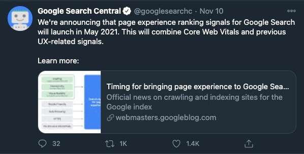 Page Experience - Tweet od Google Search Central