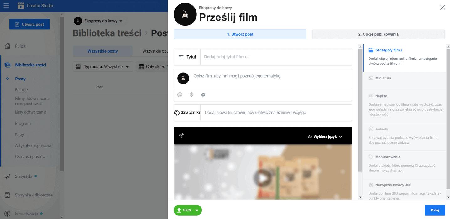 Przesyłanie filmu wideo w tle