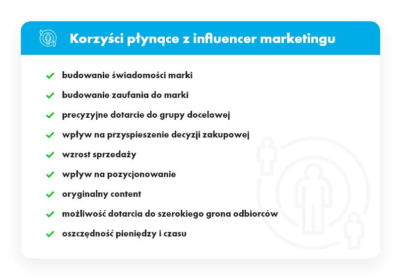 Tabela opisująca korzyści płynące z influencer marketingu.
