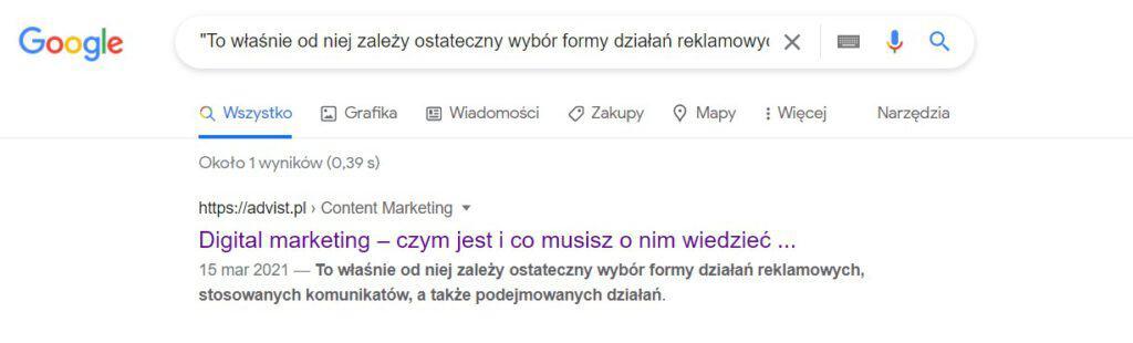 Unikalna treść w wyszukiwarce